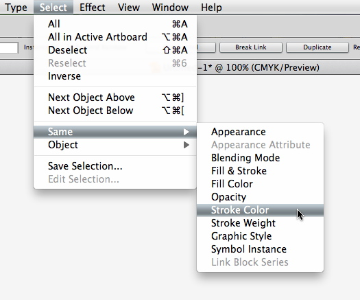 Select similar objects in Adobe Illustrator