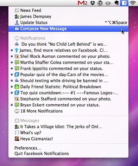 Facebook message notifications