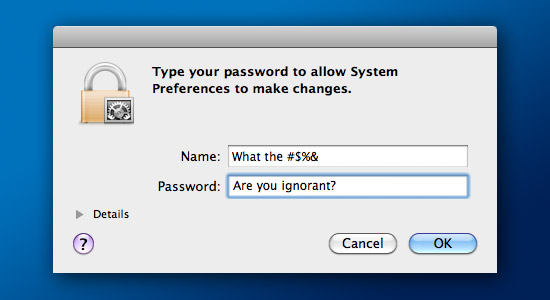 Mac OS X admin password