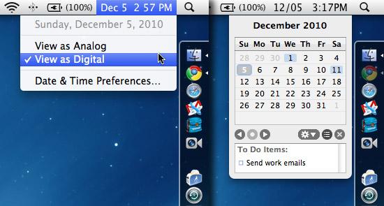OS X's worthless menubar clock vs. MenuCalendarClock for iCal