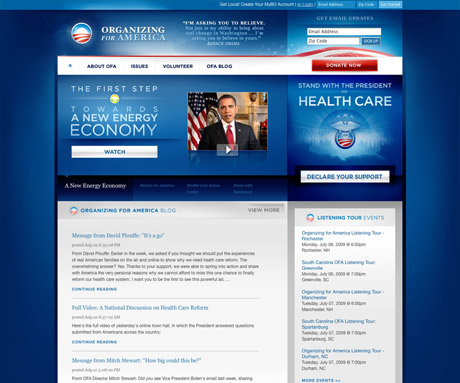 Obama's Web site design
