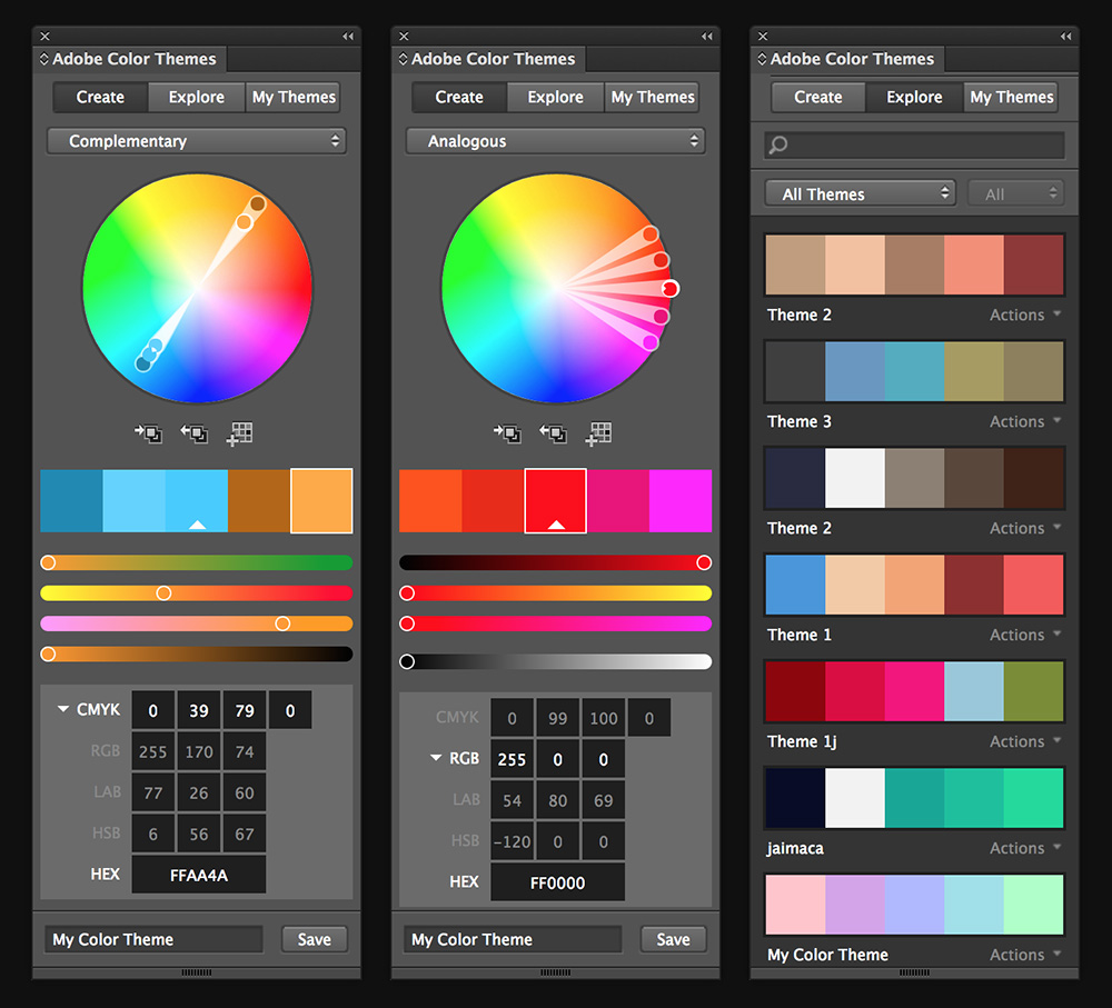 Create color themes for use in all your Adobe CC apps