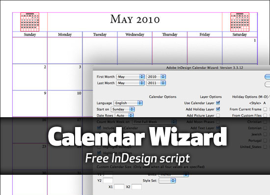 Calendar Wizard for InDesign