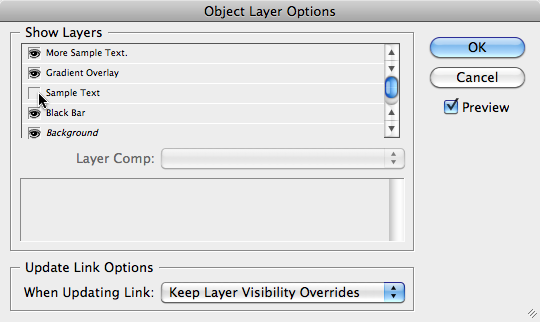Object Layer Options dialog box