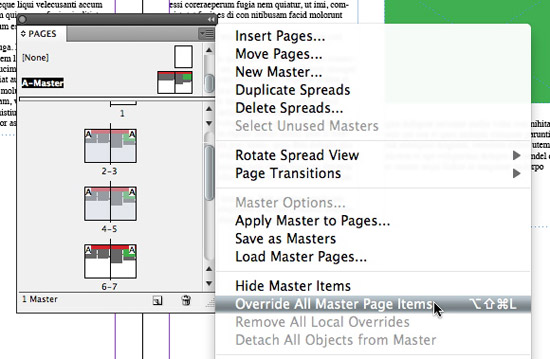 InDesign master page override