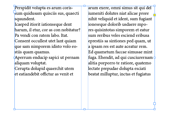 Balanced columns of InDesign text