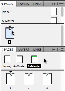 InDesign Pages panel options