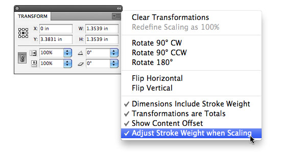 InDesign stroke scaling settings