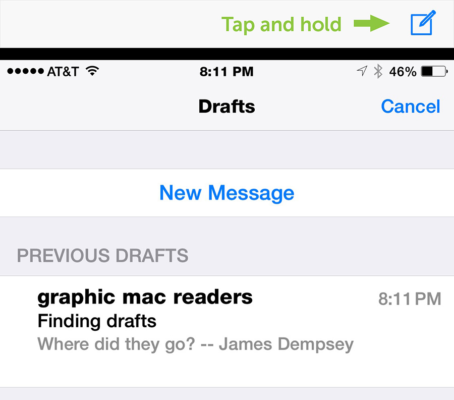 iOS email drafts