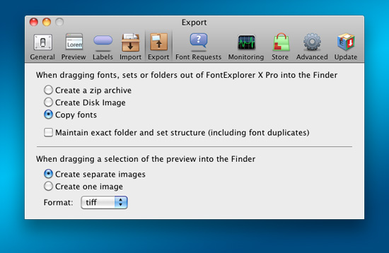 FontExplorer X Pro's preferences