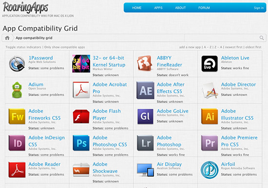 Mac OS X Lion app compatibility