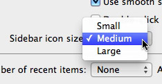 Sidebar icon size preferences