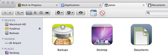 Tabs in Mac OS X's Finder windows