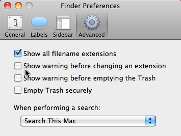 OS X Finder Extension Warning Preferences