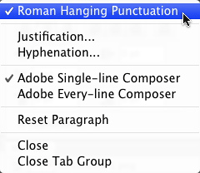 Hanging punctuation in Photoshop