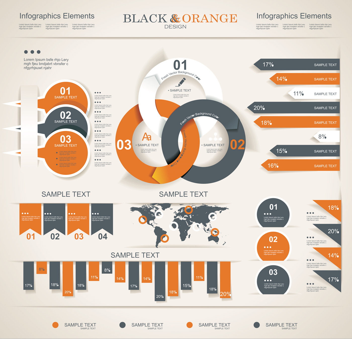 Black & Orange infographic vector art