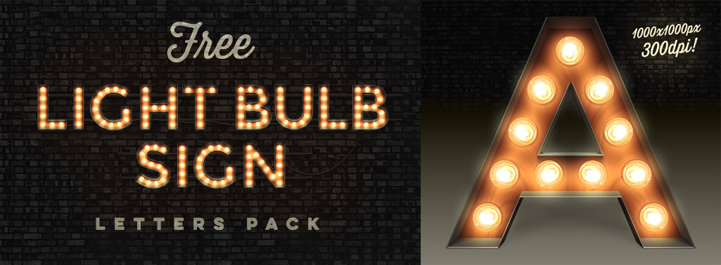 Vintage light bulb sign font