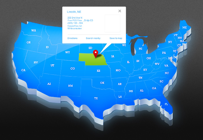 Usa Map Psd Template Designed In 3d Style The Graphic Mac