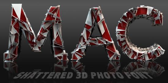 Shattered 3D font